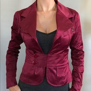 Jackets & Blazers - Maroon Fitted Blazer